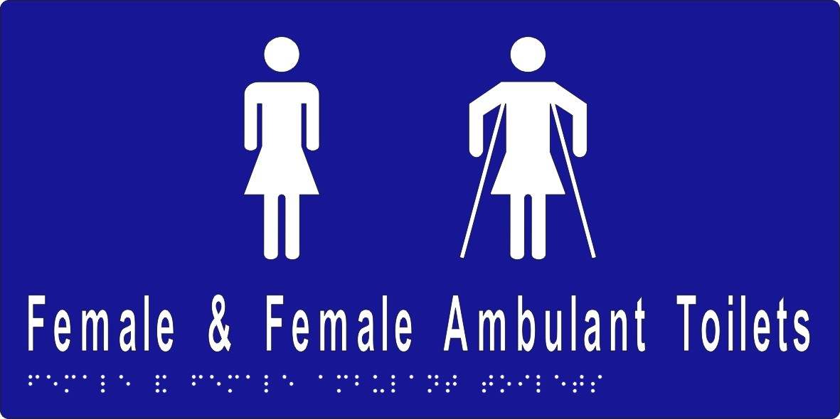 Female Sign, Female and Female Ambulant Toilet BRAILE
